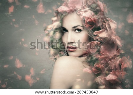 woman beauty portrait with flowers  composite photo - stock photo