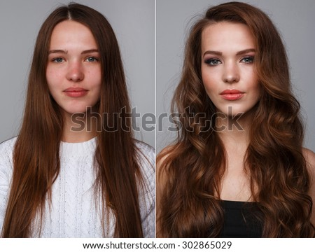Woman before and after makeup. Real result without retouching. - stock photo