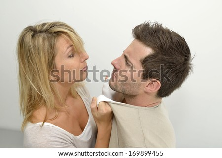 Woman being mad at boyfriend - stock photo