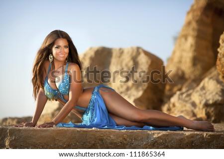 On teen sexy bed nude oriental lying