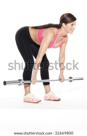 Woman Bending with Barbell - stock photo