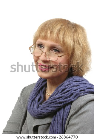 woman bespectacled with good look at white background - stock photo