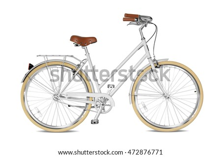 Woman bicycle with a white frame. Clipping path included.
