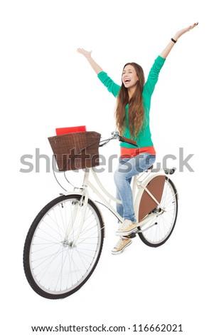 Woman biking - stock photo