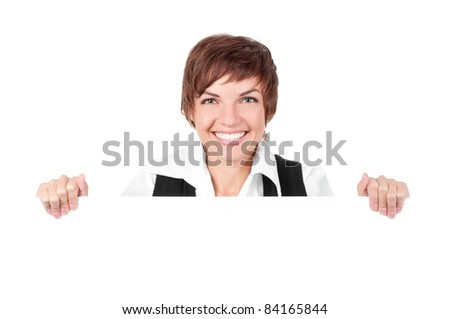 Woman billboard sign. Young beautiful woman smiling showing blank white placard. Casual and relaxed pose by young Asian / Caucasian female model with friendly smile. Isolated on white background