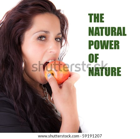 Woman bites in a apple - stock photo