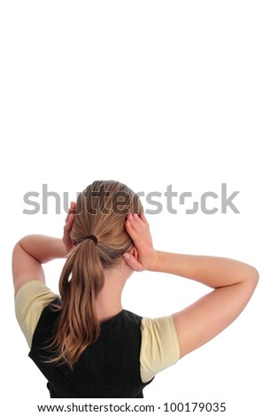Woman blocking her ears  isolated with white background - stock photo