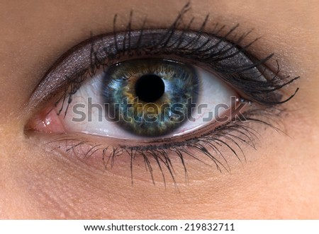 woman blue eye close up