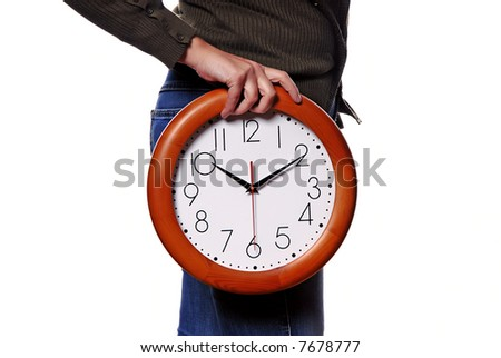 woman body parts with a clock covering her