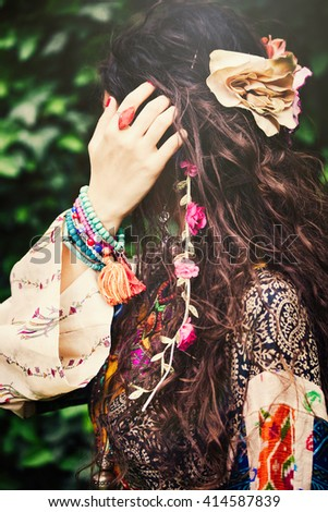 woman boho style hair fashion details closeup outdoor shot