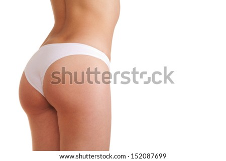 woman booty in panties isolated on white background - stock photo