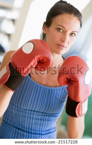 Woman Boxing At Gym - stock photo