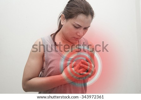 woman breast pain with red spot. Joint inflammation concept. - stock photo