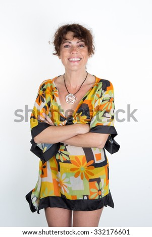 Woman, brunette with curly hair  - stock photo