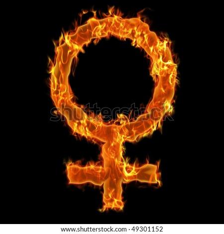 Woman burning symbol - stock photo