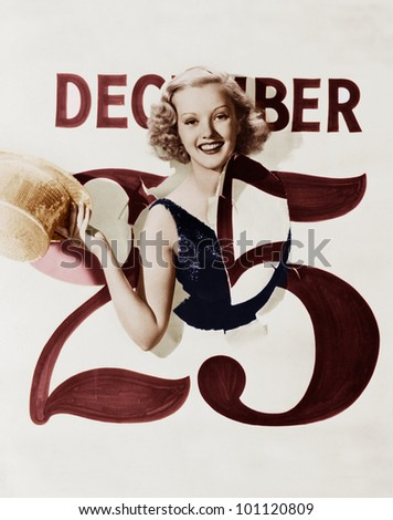 Woman bursting through calendar on Christmas day - stock photo