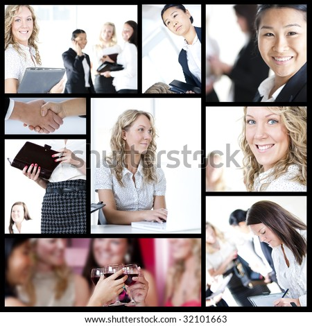 Woman Business collage - from meeting to seal deal and after party