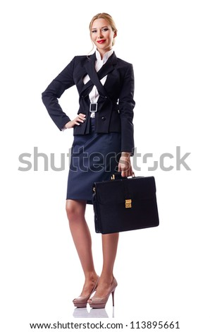 Woman businessman isolated on the white
