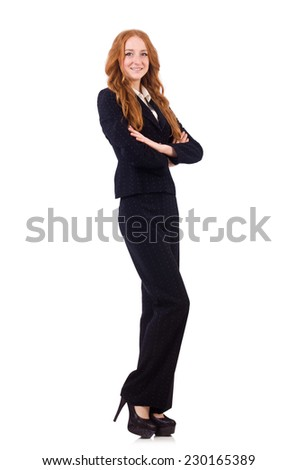 Woman businesswoman in business concept isolated on white - stock photo