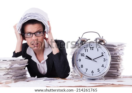 Woman businesswoman under stress missing her deadlines - stock photo