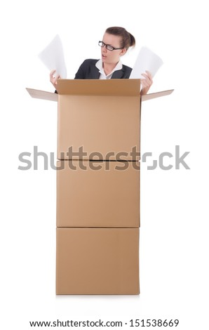 Woman businesswoman with boxes on white