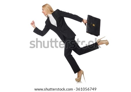 Woman businesswoman with briefcase isolated on white - stock photo