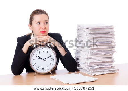 Woman businesswoman with clock and papers - stock photo