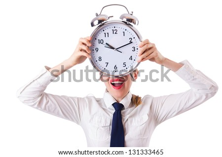 Woman businesswoman with giant clock - stock photo
