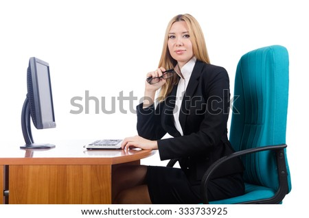 Woman businesswoman working isolated on white - stock photo
