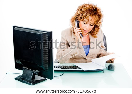 Woman busy on phone call - stock photo