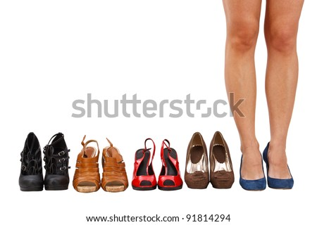 woman buy shoes concept of choice and shopping, isolated on white background in studio - stock photo