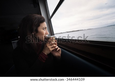 Woman cafe - stock photo