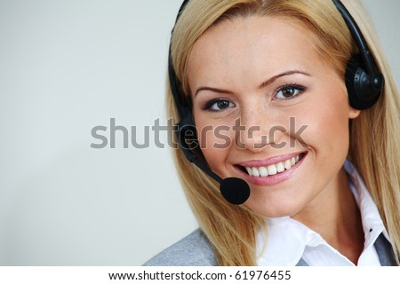 woman call with headset - stock photo