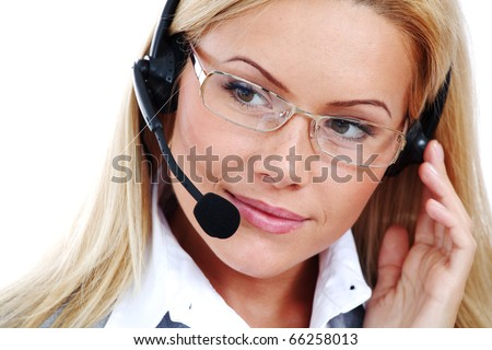 woman call with headset close portrait - stock photo