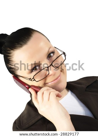 woman calling by phone isolated on the white background