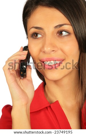 Woman calling on a cell phone. Close- up.