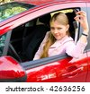woman car - stock photo