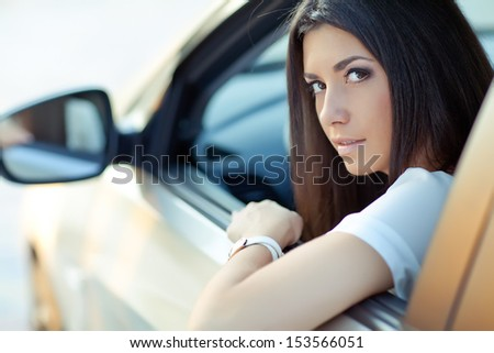 woman car - stock photo