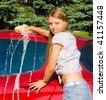 woman car washing - stock photo