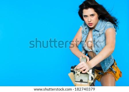 woman carpenter - stock photo