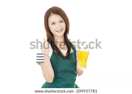 Woman carrying beer