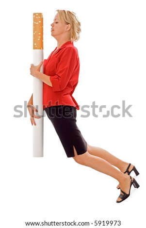 Woman carrying giant cigarette - funny illustration of heavy smoking - and the burden on one's health - isolated - stock photo