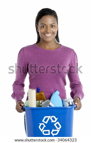 Woman Carrying Recycling Bin - stock photo