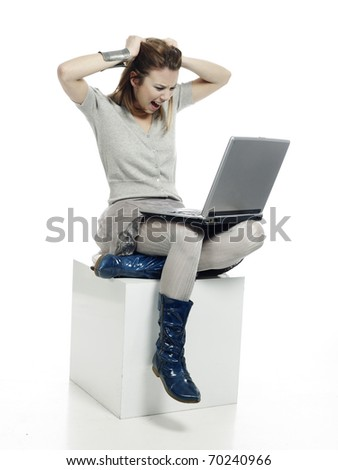 woman casually dressed with laptop computer