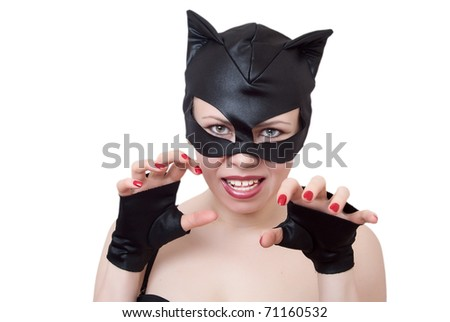 woman-cat represents aggression showing the teeth - stock photo