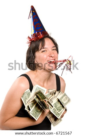 Woman celebrates at a New Years party by displaying her holiday bonus - stock photo