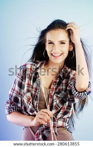 Woman celebrating summer - stock photo