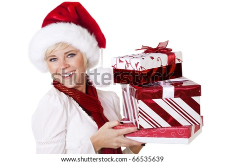 Woman Celebrating the Christmas Season - stock photo