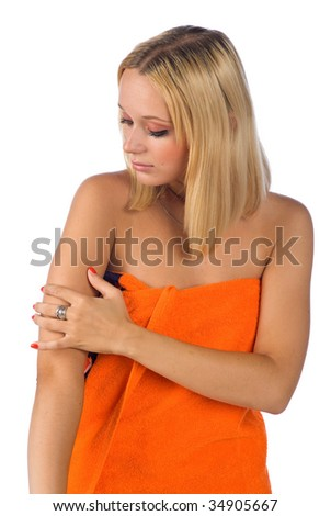 woman checking her skin - stock photo