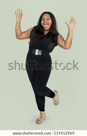 Woman Cheerful Studio Portrait Concept